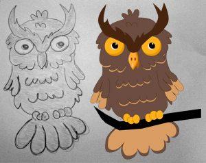 Szkic sowy - rysunek wektorowy