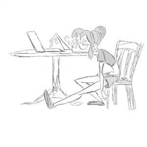 Dziewczyna przy komputerze - kreskówka szkic