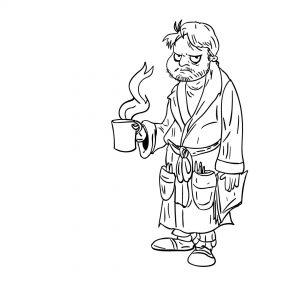 Facet z kawa - szkic