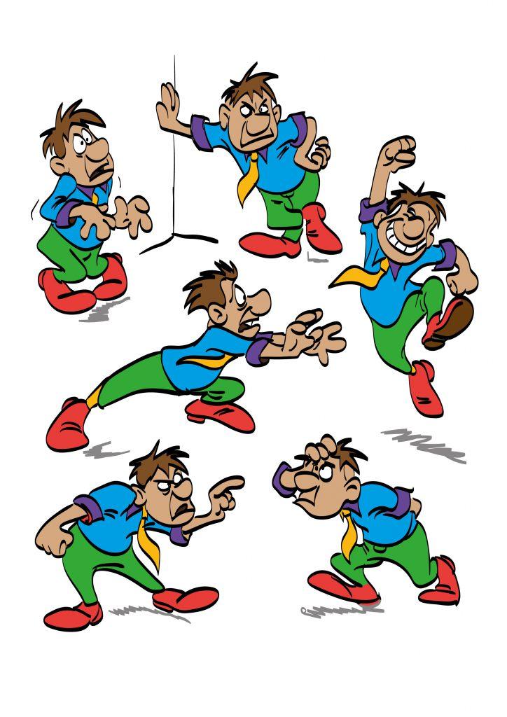 Postać rysunkowa z kreskówki – kilka postaw i gestów ilustracja
