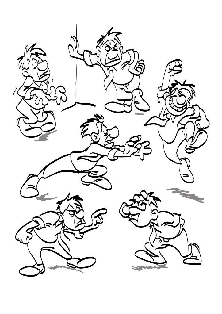 Postać rysunkowa z kreskówki – kilka postaw i gestów szkic