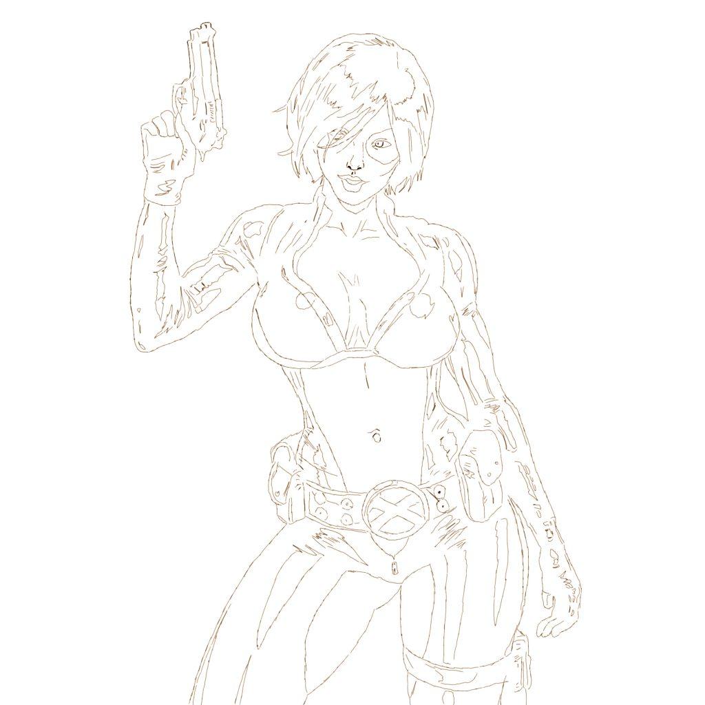 Kobieta z pistoletem - szkic