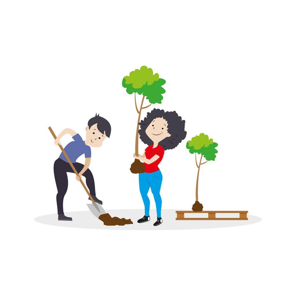 Kobieta i mężczyzna sadzą drzewo -  ilustracja