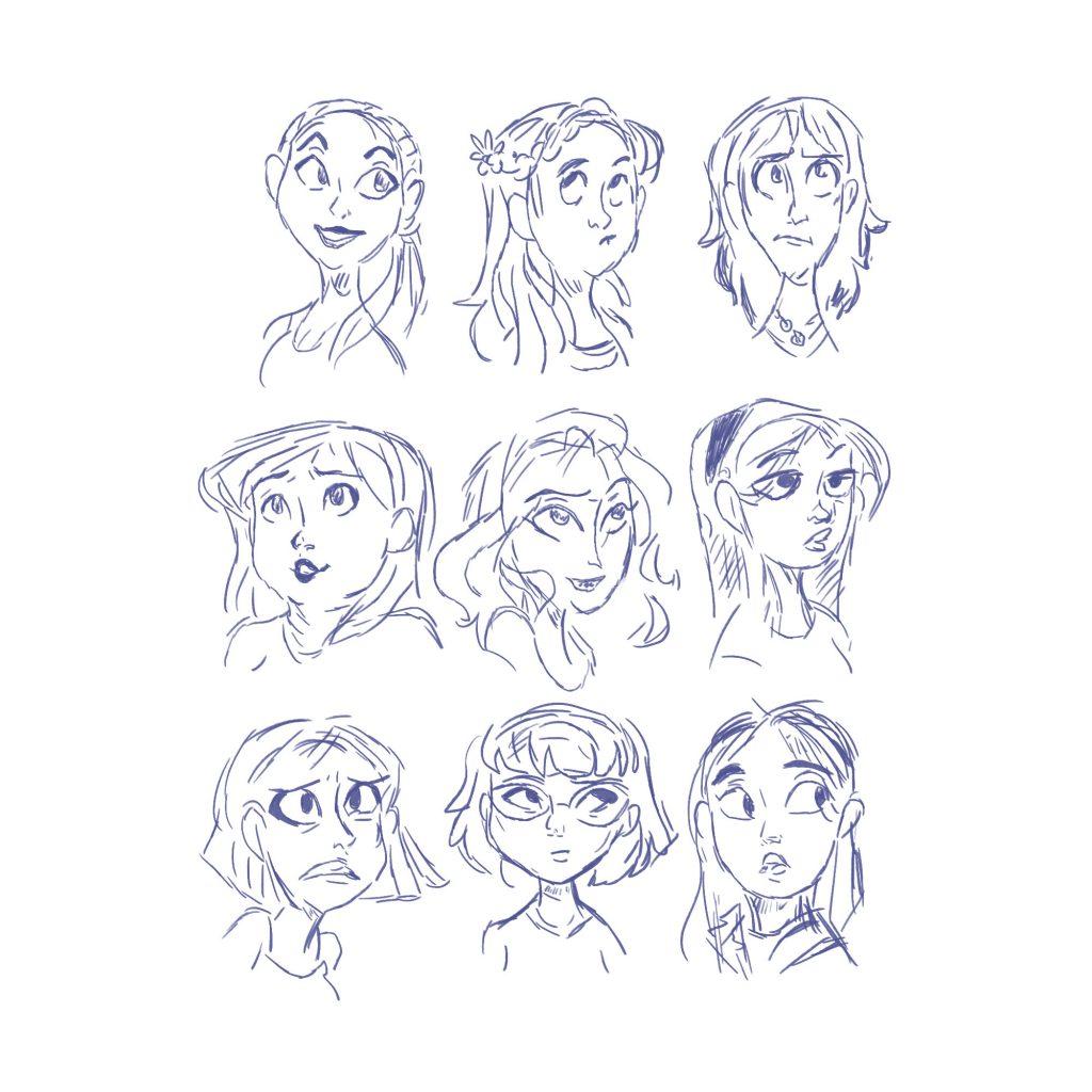 Twarz kobiety - emocje szkic