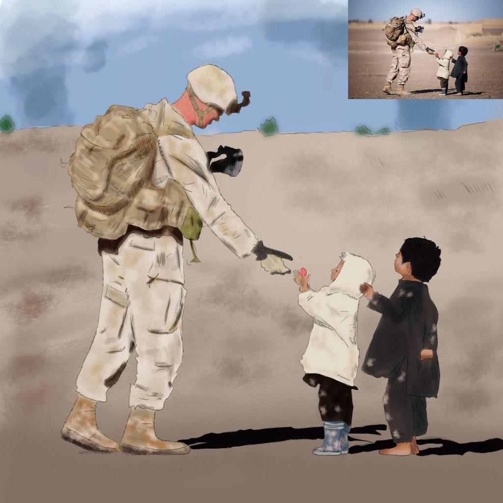 Cyfrowa ilustracja - żołnierz i dzieci