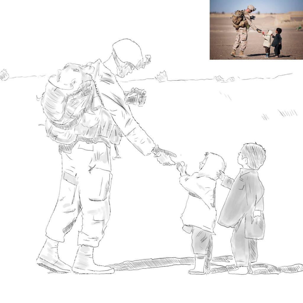Cyfrowy szkic - żołnierz i dzieci