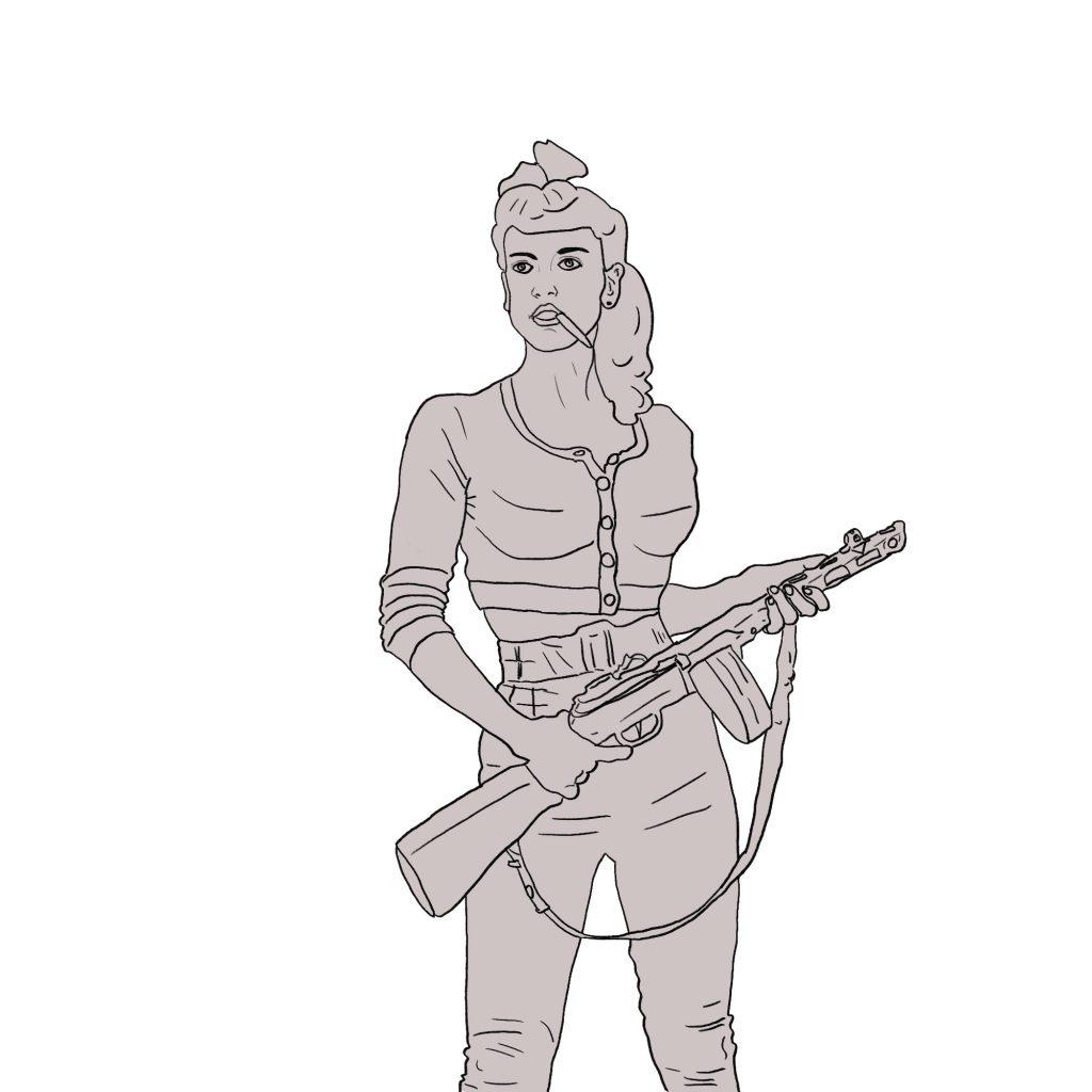 Bojowniczka z karabinem – rysunek