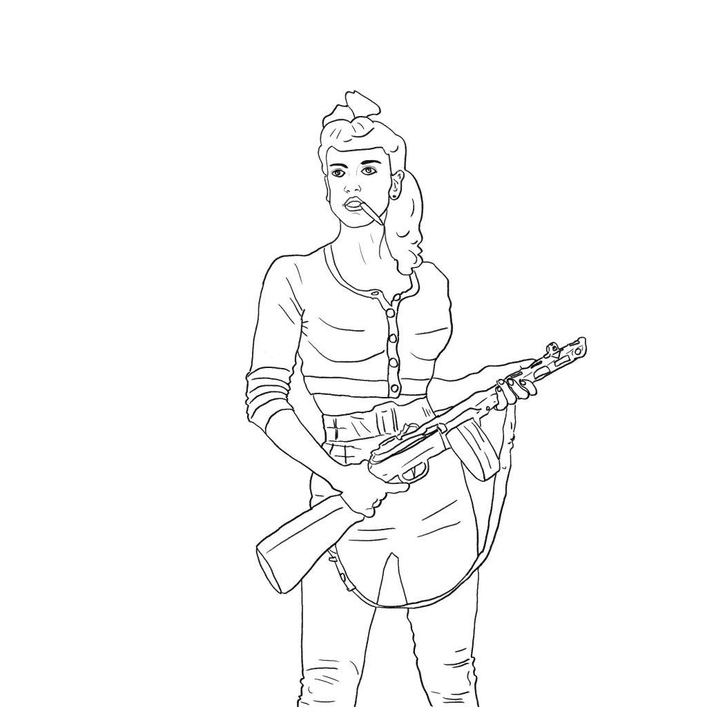 Bojowniczka z karabinem – szkic