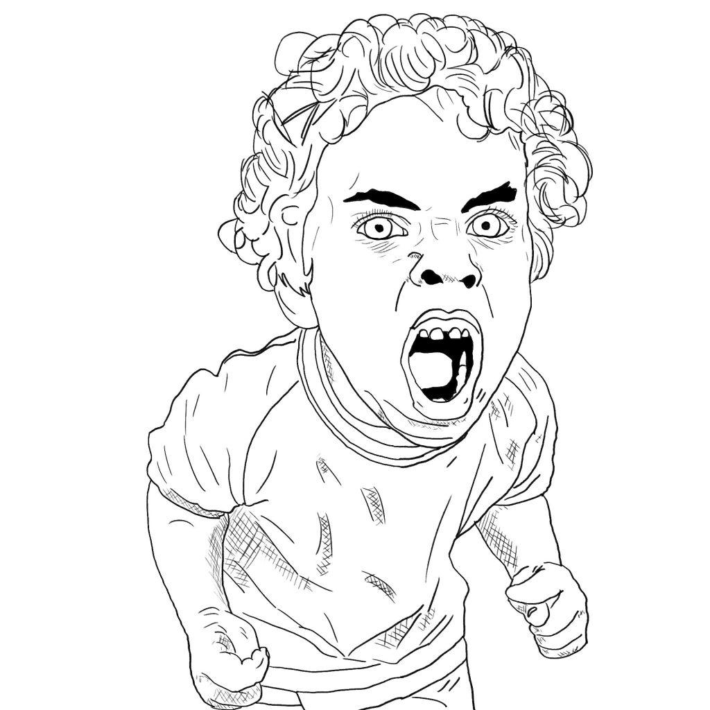 Krzyczący chłopiec – szkic