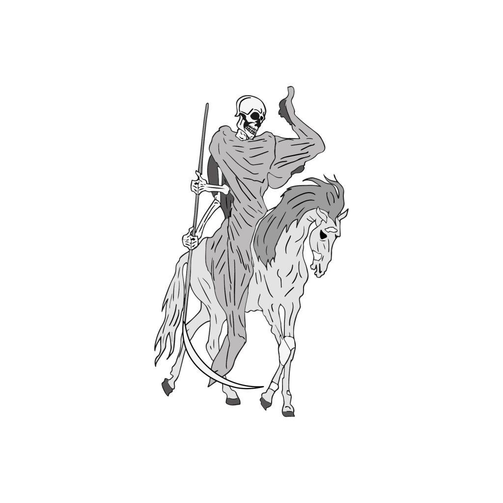 Szkielet na koniu – ilustracja wektorowa