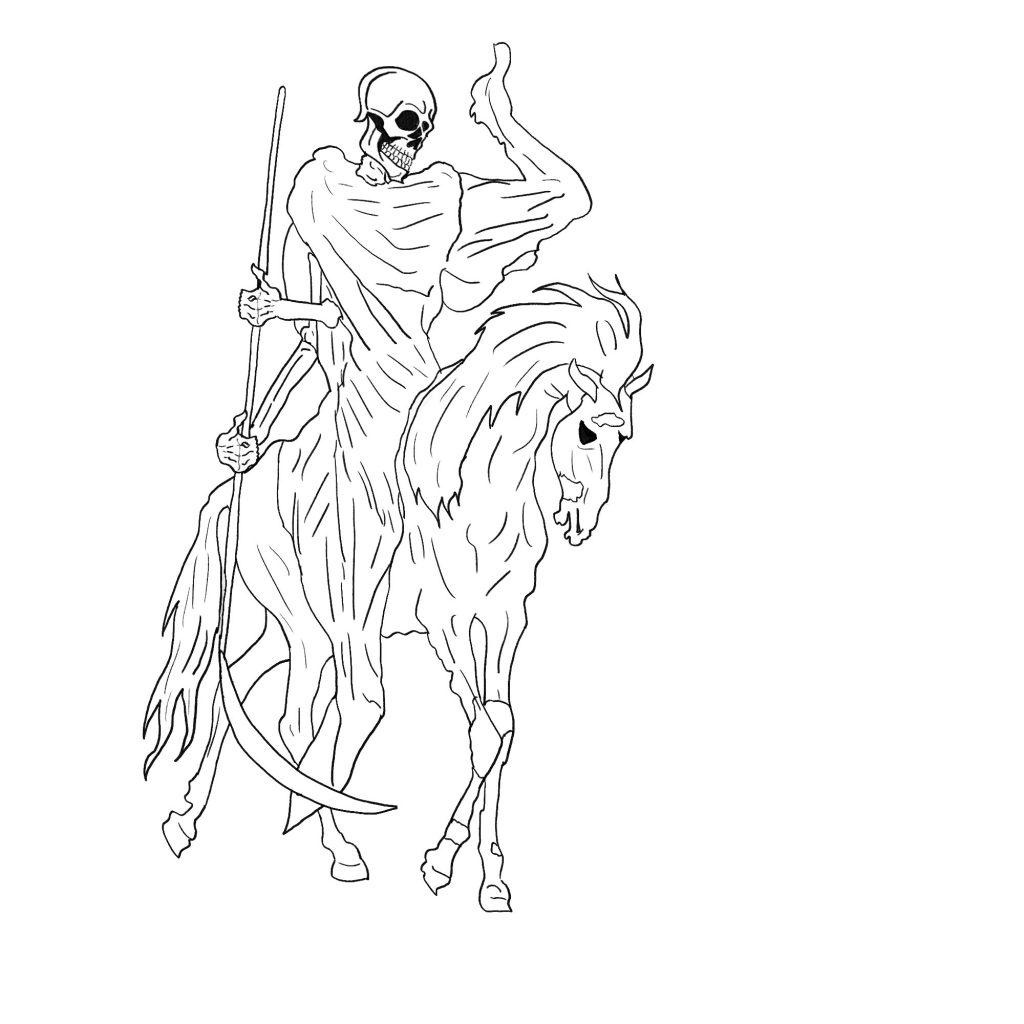 Szkielet na koniu - szkic