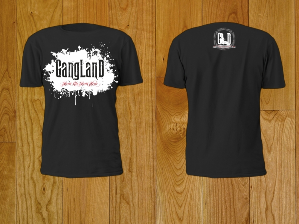 Gangland - nadruk na podkoszulek - czarny