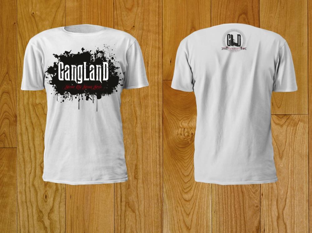 Gangland - nadruk na podkoszulek - biały