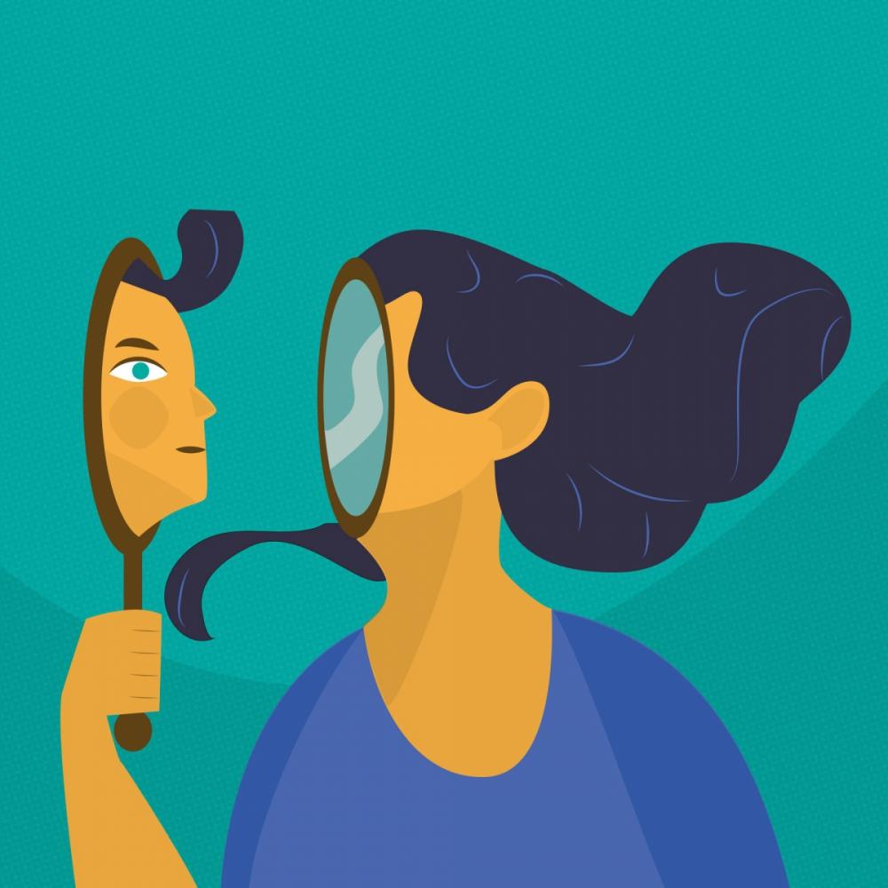 Ilustracja wektorowa - Zobacz swoje odbicie w lustrze