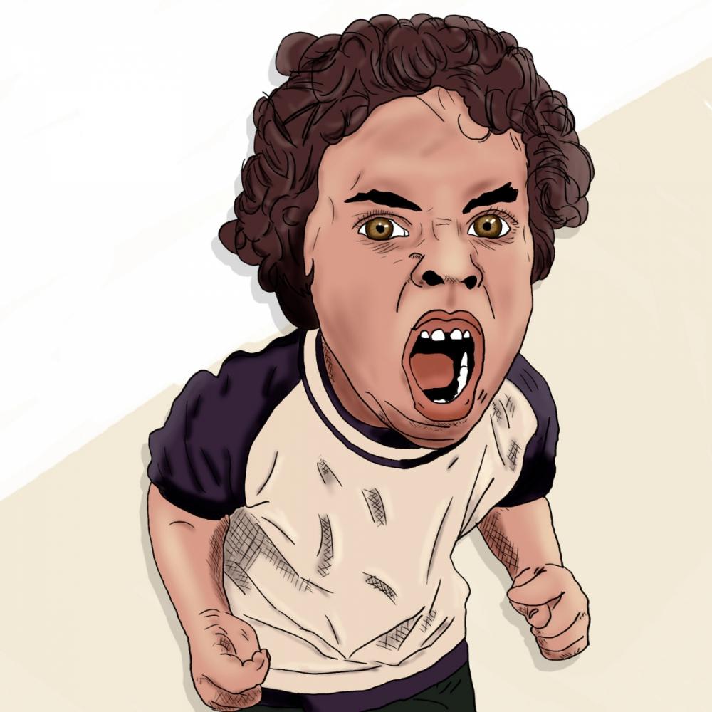 Krzyczący chłopiec - cyfrowy rysunek