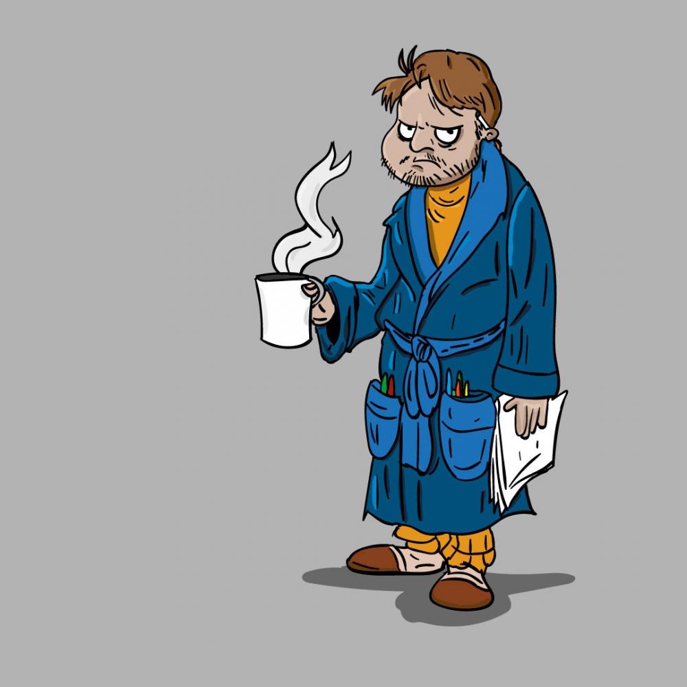 Mężczyzna z kawa - ilustracja