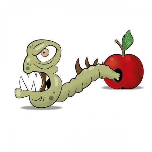 Rysunek robak i jabłko