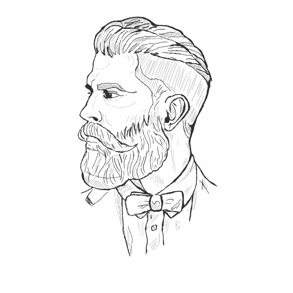 Szkic mężczyzny z brodą